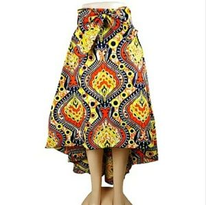 Gold and orange asymmetrical high/low skirt